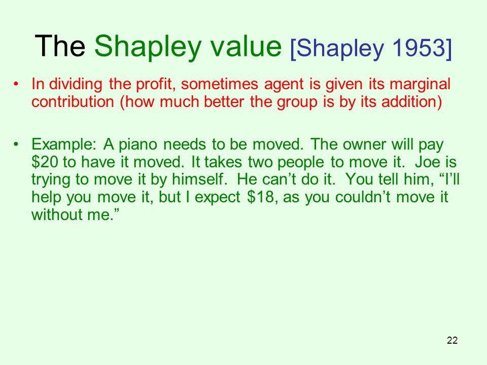 The Shapley value [Shapley 1953]